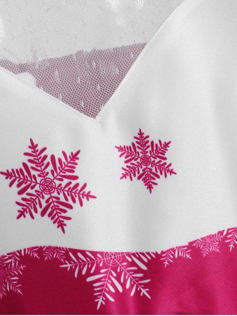 Plus Size Mesh Panel Snowflake Christmas Vintage Dress - 多 1X Mobile