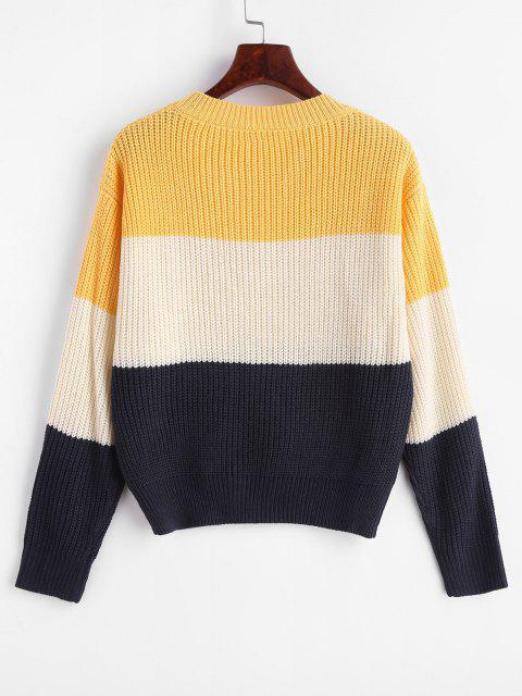 chic ZAFUL Color Block Striped Sweater - MULTI-B ONE SIZE Mobile
