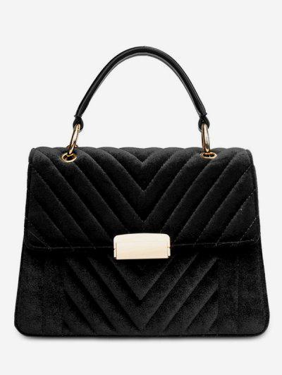 Suede Leather Cover Design Handbag - Black