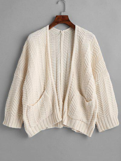 f9aad3d019 Open Front Patch Pocket Oversized Cardigan - Warm White