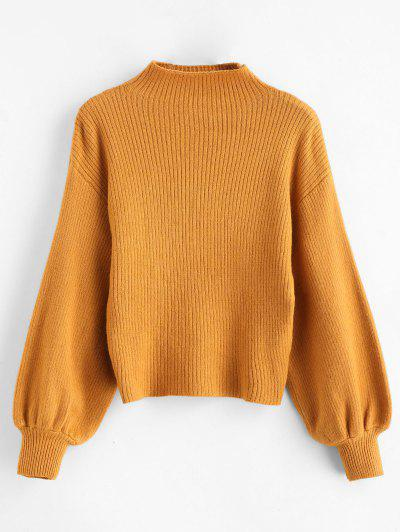 49%OFF Blouson Sleeve Ribbed Funnel Sweater - Tiger Orange e02e65667