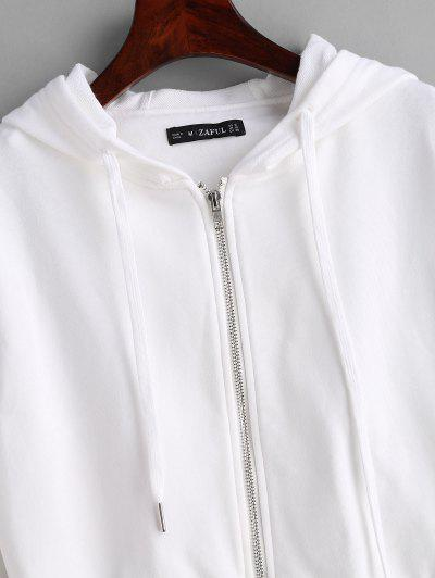 ZAFUL Drawstring Zip Up Cropped Hoodie, White