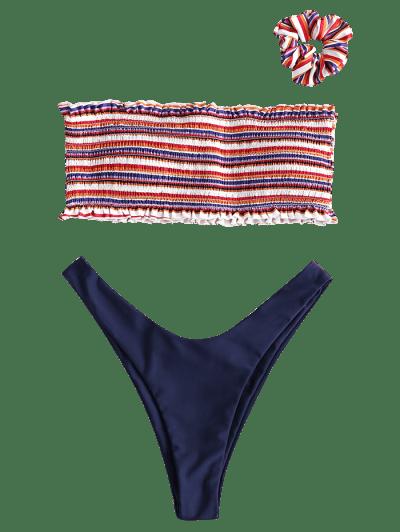 ZAFUL Smocked Colorful Striped Bandeau Bikini Set, Multi-a