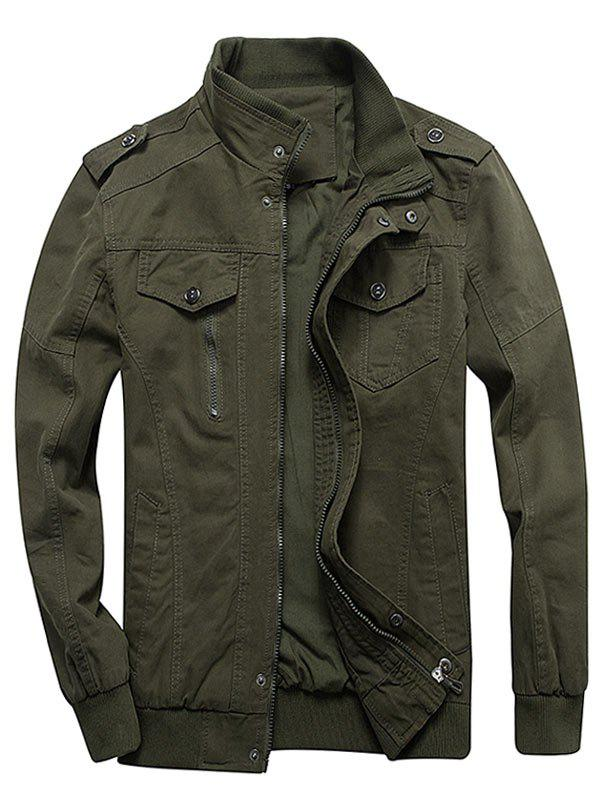Zip Up Stand Collar Cargo Jacket фото