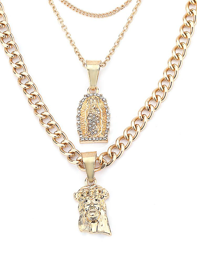 Multilayered Jesus Faux Crystal Pendant Necklace