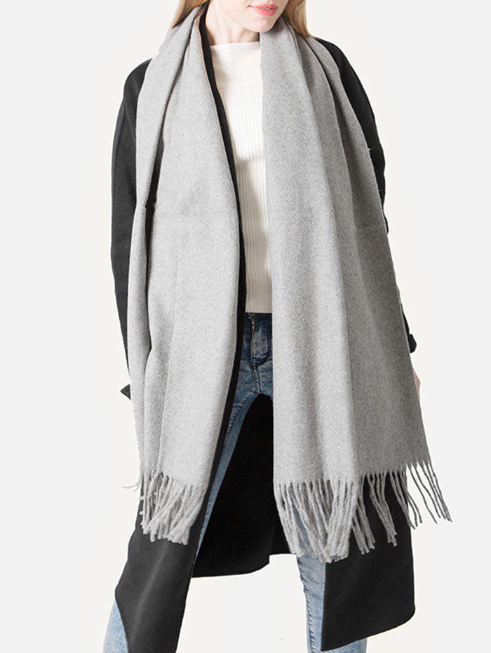 Elegant Grey Fringed Shawl Scarf, Gray cloud