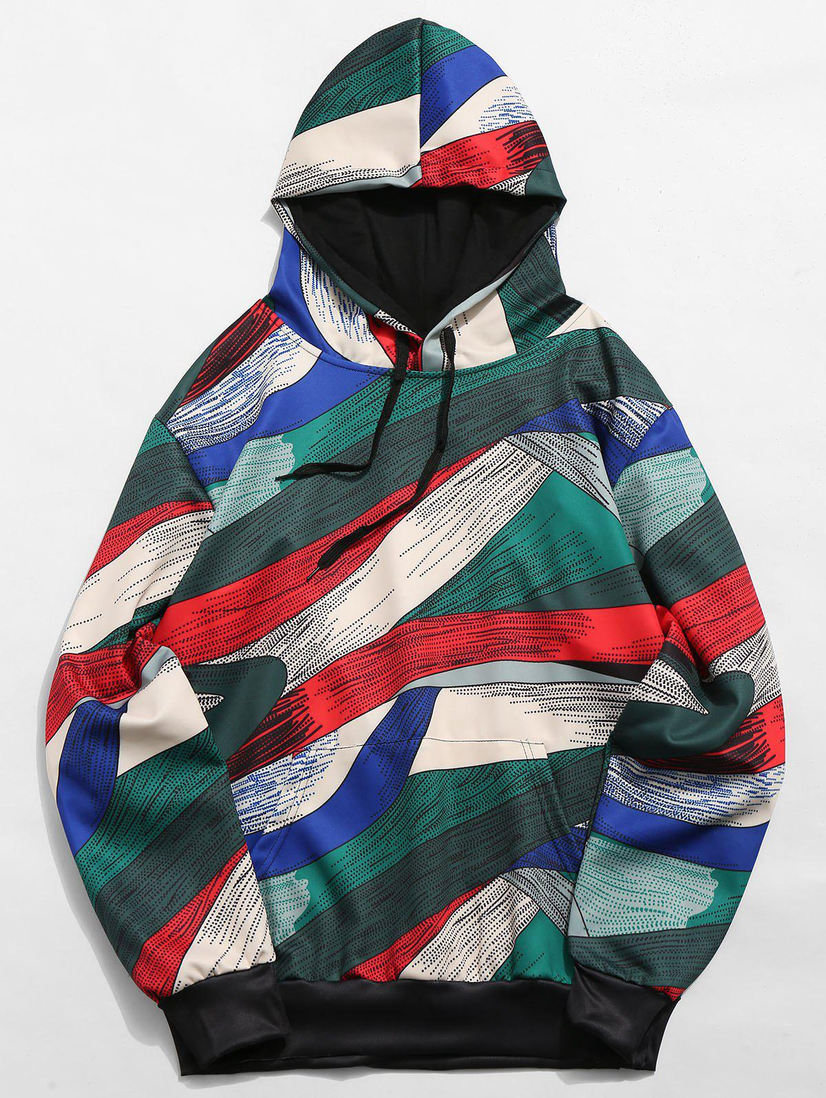 Abstract Art Design Pullover Drawstring Hoodie, Multi-a