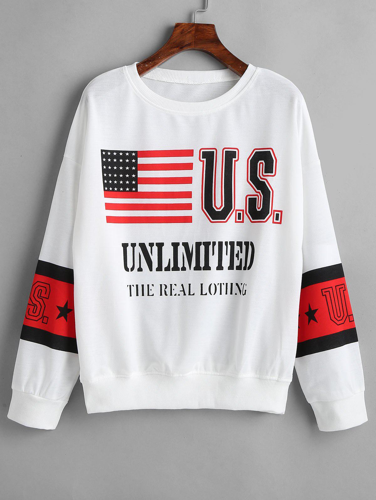 Drop Shoulder American Flag Sweatshirt thumbnail