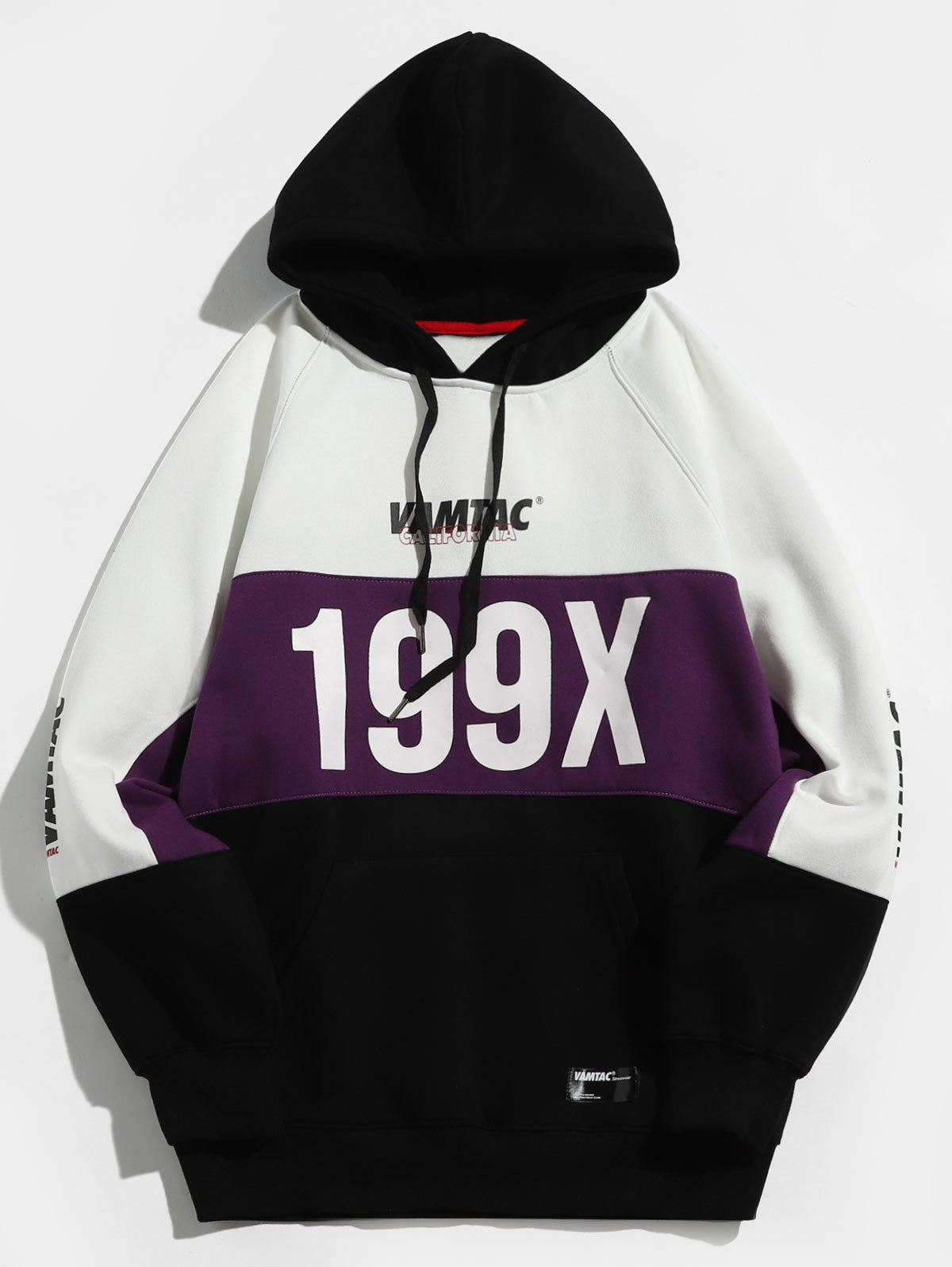 199X Graphic Fleece Lined Colorblock Hoodie