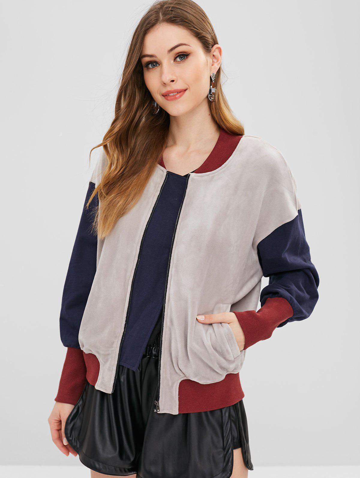 ZAFUL Color Block Zip Velvet Jacket