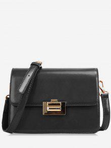قفل معدني تصميم براءات الاختراع والجلود حقيبة كروسبودي - أسود