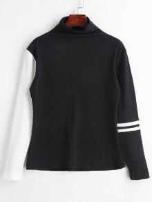 ZAFUL Ribbed Mock Neck Stripes Top - أسود L