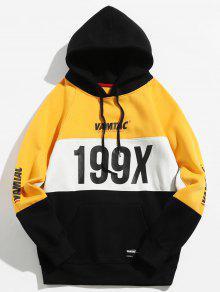 199X الجرافيك الصوف اصطف Colorblock Hoodie - المطاط الحبيب الأصفر L