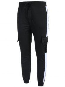 جيوب جانبية مقلمة من جيوب - أسود S
