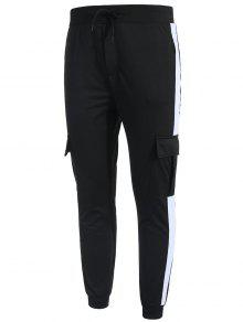 جيوب جانبية مقلمة من جيوب - أسود M