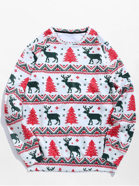 sale Christmas Tree Reindeer Print Sweatshirt - MULTI S