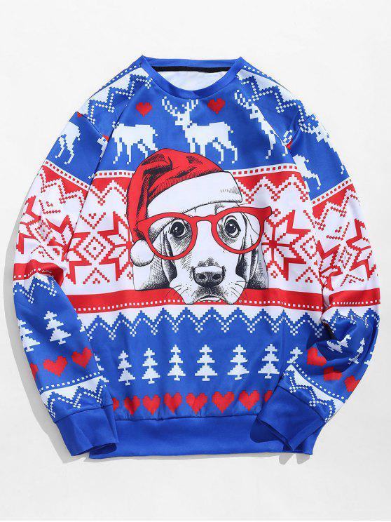 chic Christmas Dog Print Pullover Sweatshirt - COBALT BLUE M