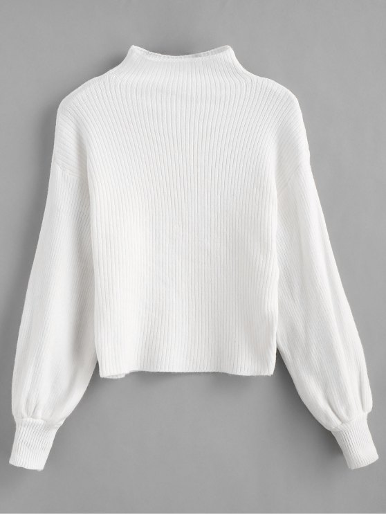 fashion Pullover Blouson Sleeve Ribbed Funnel Sweater - WHITE ONE SIZE