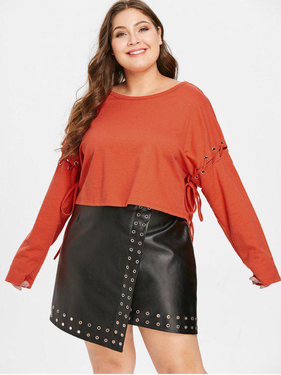 chic ZAFUL Plus Size Lace-up Drop Shoulder Sweatshirt - BRIGHT ORANGE 2X