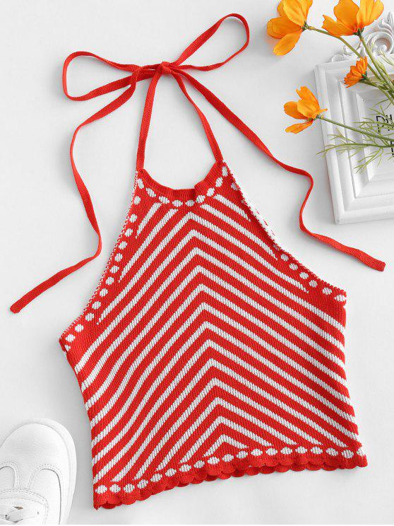 best Striped Scalloped Knitted Halter Top - RED S