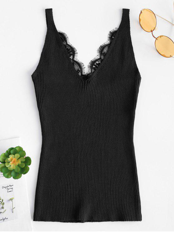 fashion Lace Trim Ribbed Slim Cami Top - BLACK ONE SIZE