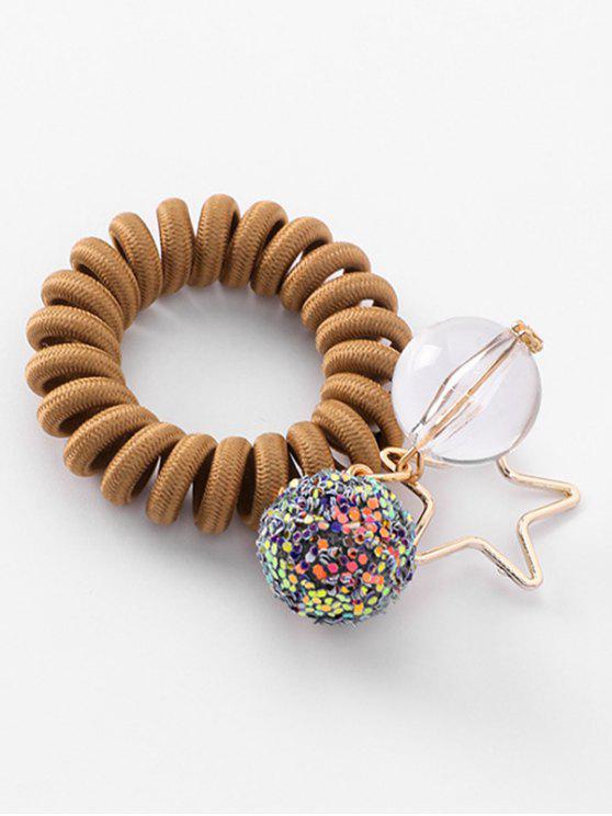 women Planet Decoration Ponytail Holder Elastic Phone Line Hair Tie - CARAMEL