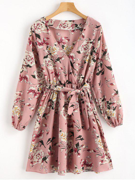 shop Floral Surplice Mini Dress - MULTI L