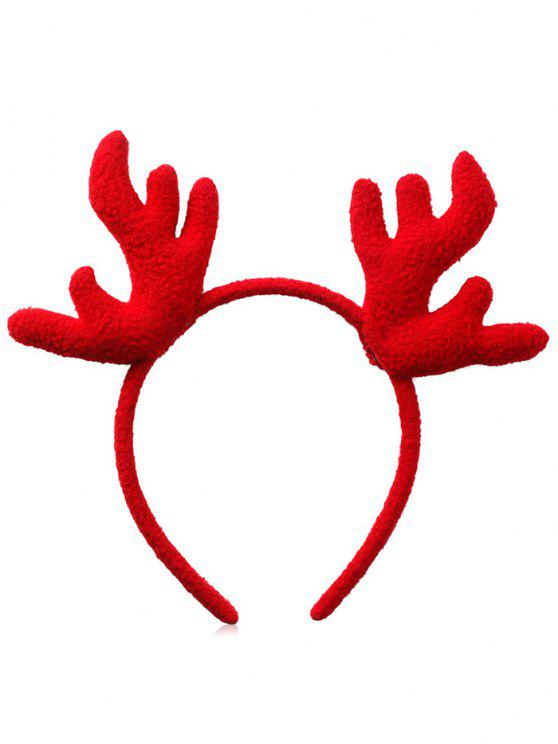 fashion Christmas Antler Printed Fluffy Hairband - RED