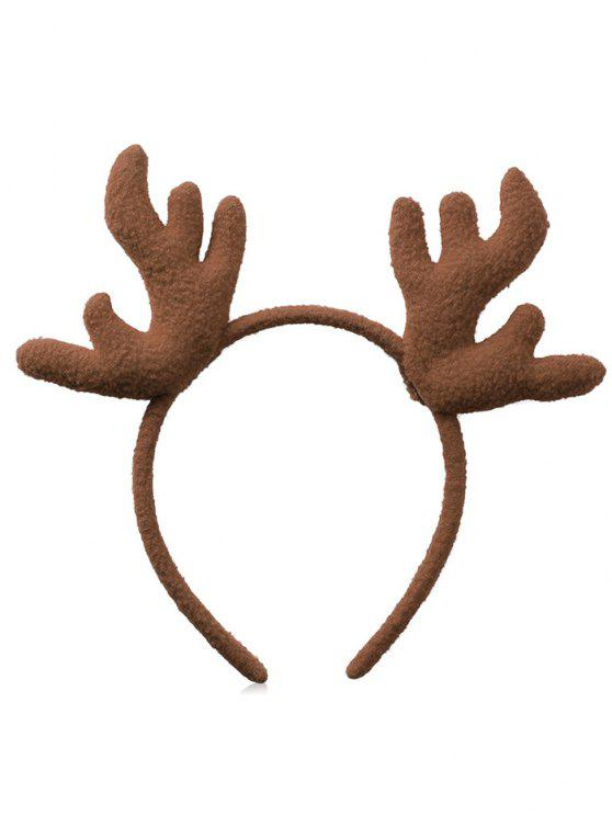affordable Christmas Antler Printed Fluffy Hairband - BROWN