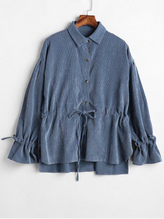 women's Snap Button Slit Corduroy Jacket - MARBLE BLUE M