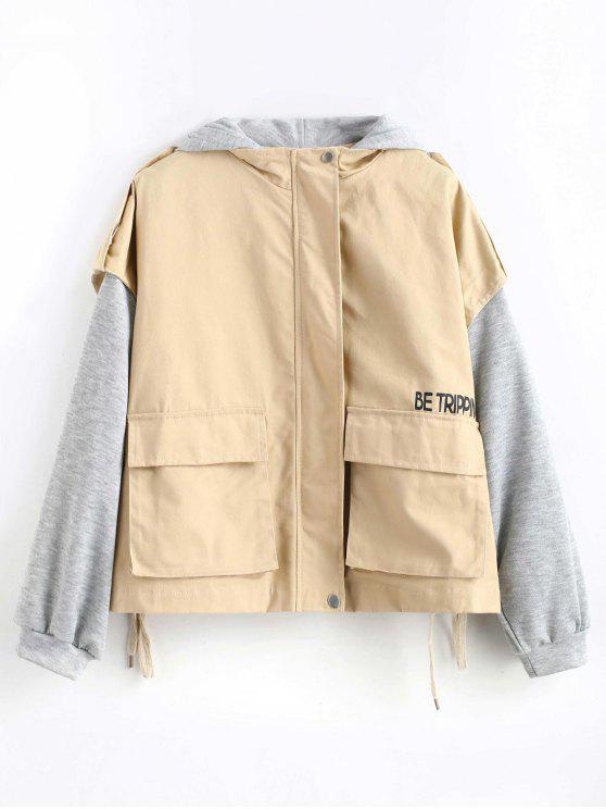 new Hooded Color Block Pocket Jacket - TAN ONE SIZE