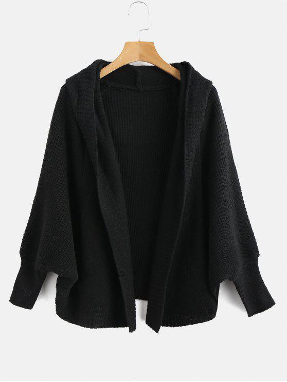sale Hooded Dolman Sleeve Cardigan - BLACK ONE SIZE