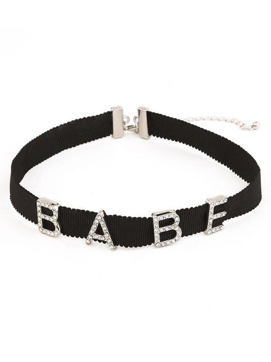 shop Rhinestone Inlaid Letter Choker Necklace - SILVER