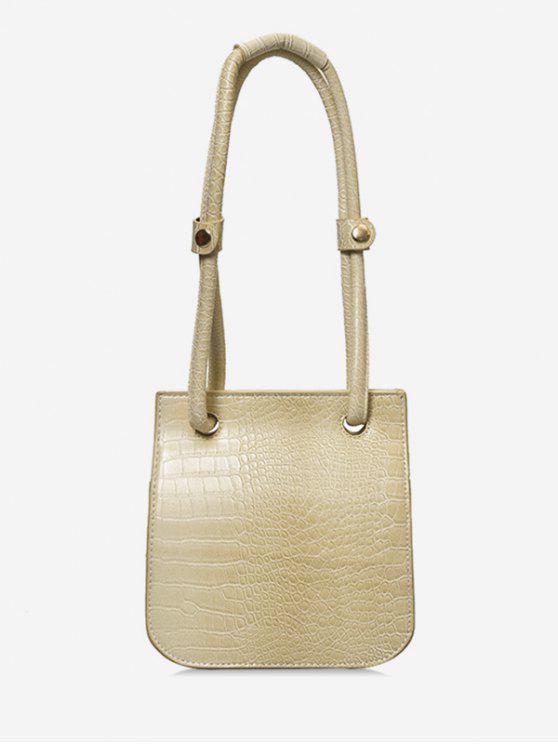 womens Artificial Leather Design Magnetic Snap Shoulder Bag - BEIGE