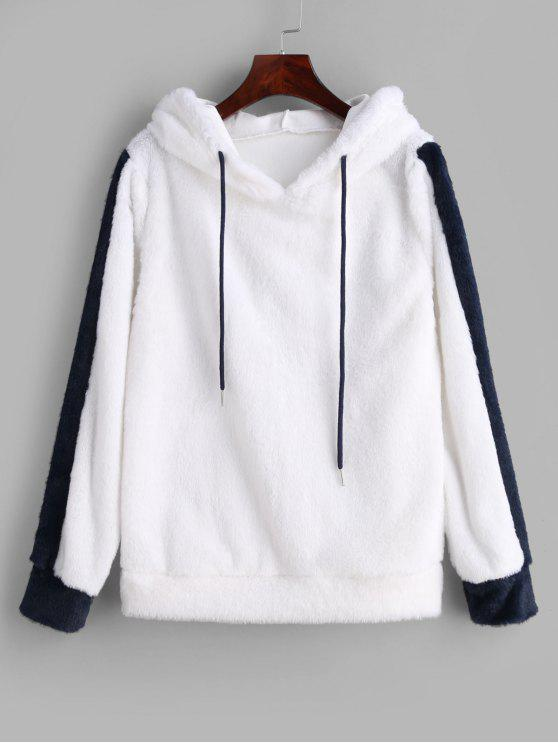 Два тонких Drawstring Faux Fur Hoodie - Белый M