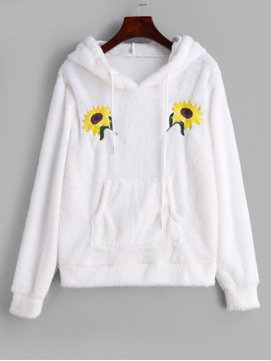 chic Flower Embroidered Front Pocket Fluffy Hoodie - WHITE S