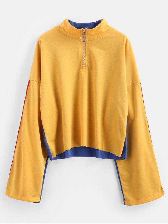 Half Zip Side gestreiftes Sweatshirt - Senf M