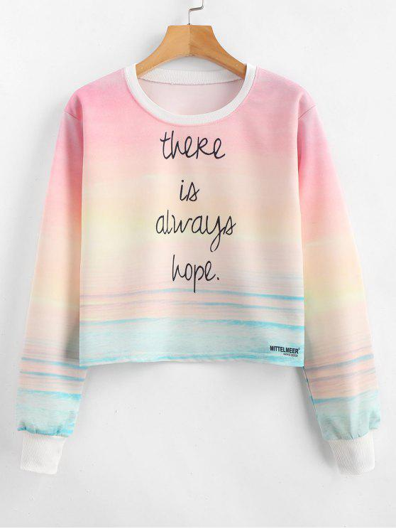 Ombre Cropped Graphic Sweatshirt - Multi S