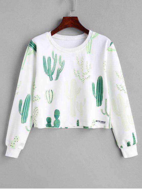 Kaktus-grafisches Pullover-Sweatshirt - Weiß M