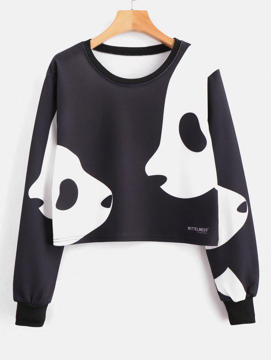 Panda Print - Kurzes Pullover-Sweatshirt - Schwarz S