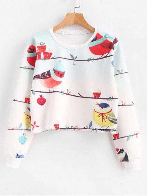 Birds Graphic Pllover - Kurzes Sweatshirt - Weiß S