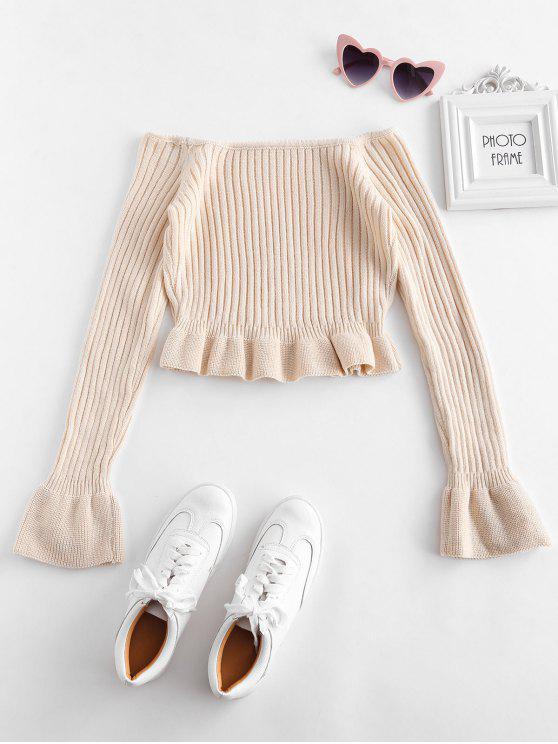 ladies Off Shoulder Ruffle Hem Sweater - CHAMPAGNE S