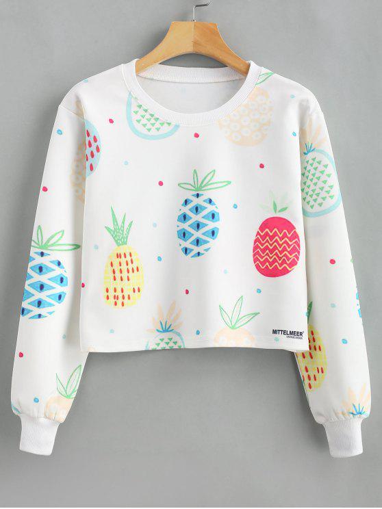 Ananas-Print-Grafik abgeschnittenes Sweatshirt - Weiß L