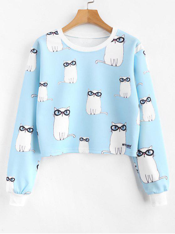 ladies Allover Kitten Print Cropped Sweatshirt - LIGHT SKY BLUE L