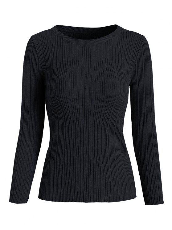 Suéter de punto acanalado - Negro Talla única