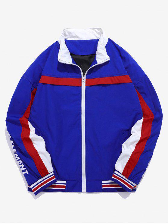 Stripe Patchwork Bordado Carta Jaqueta Blusão - Azul L