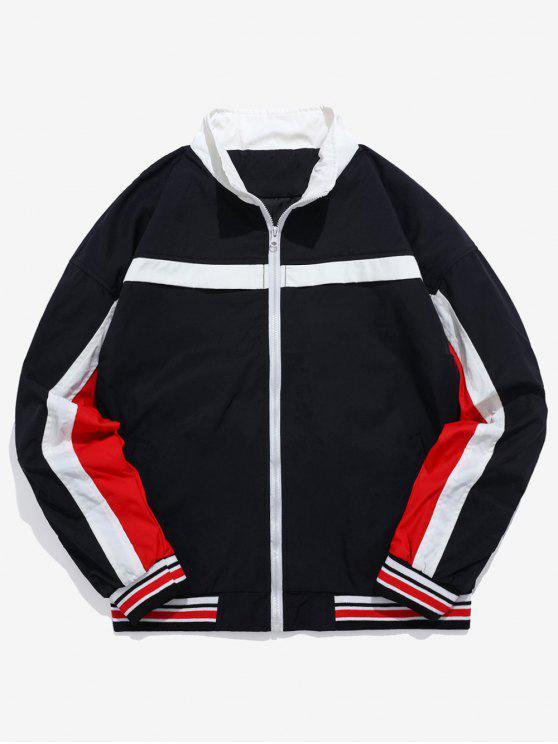 Remiendo de la raya chaqueta de rompevientos de letras bordadas - Negro XL