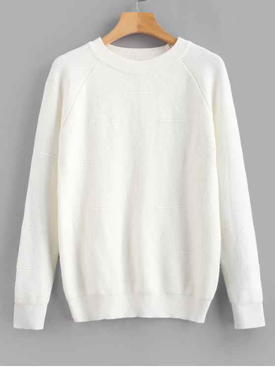 Camisola de mangas raglan de cor sólida - Branco Um Tamanho