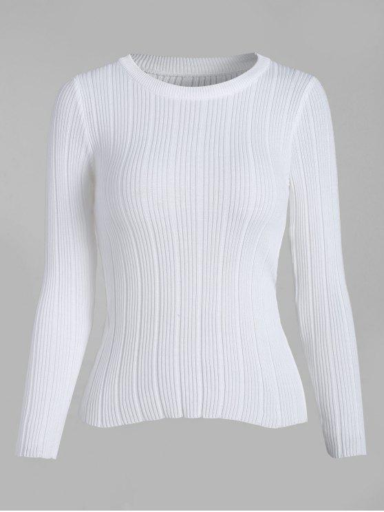 women's Ribbed Knit Basic Sweater - WHITE ONE SIZE