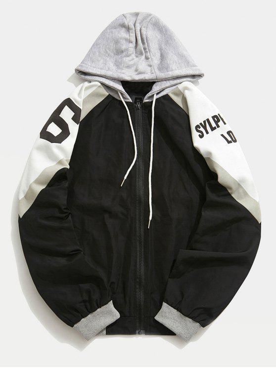 Veste à Capuche Lettre Patchwork - Noir XL